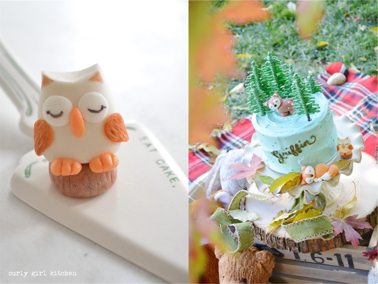 Woodland Cake, Boy Birthday Cake, Fondant Woodland Cake Topper, Baby Boy Birthday Party