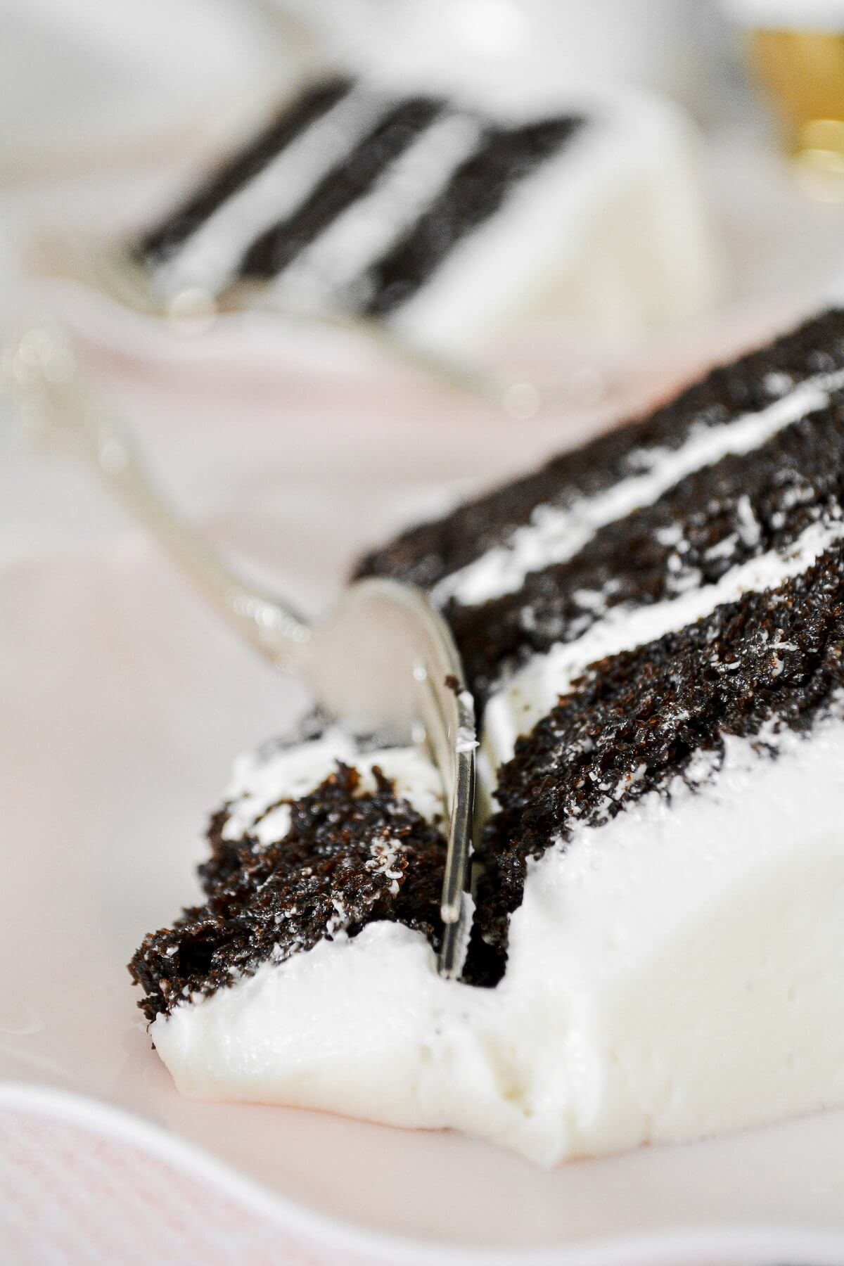 A closeup of a slice of chocolate and vanilla sour cream cake.