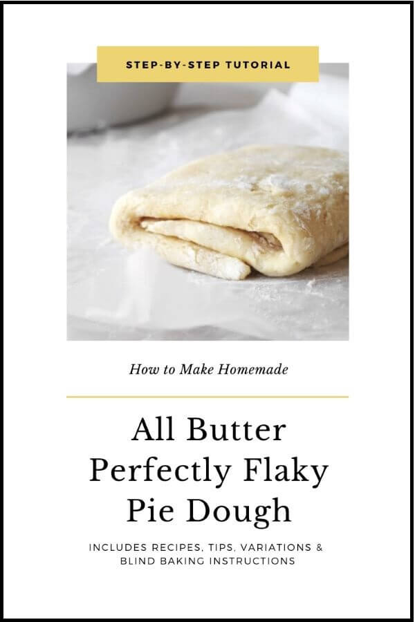 How to make homemade all butter perfectly flaky pie dough graphic, with rolled out pie dough folded into thirds and sprinkled with flour.