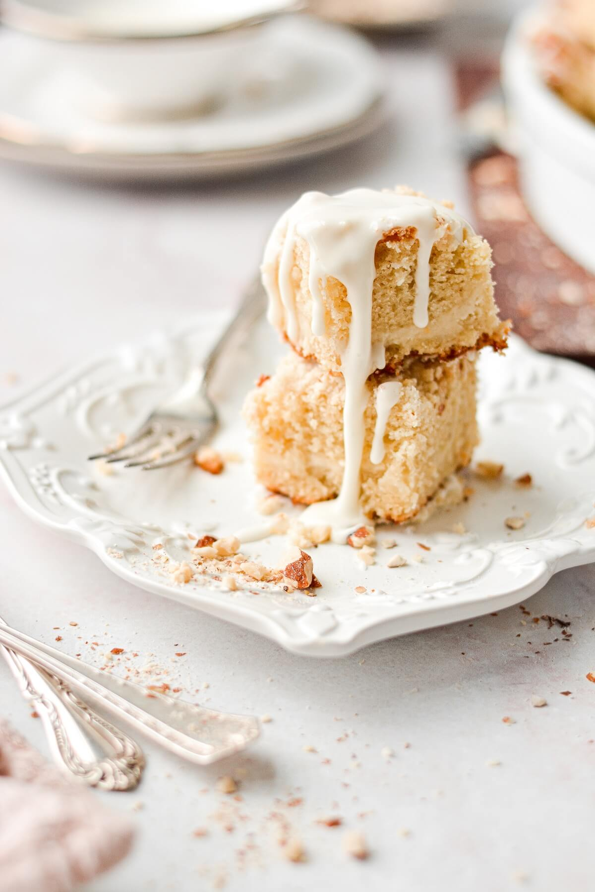 Almond cream cheese coffee cake, drizzled with almond icing.