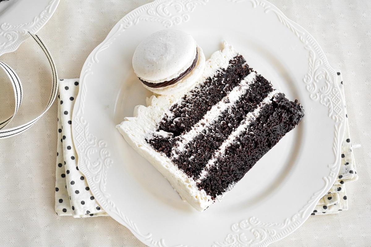A slice of chocolate cake with vanilla buttercream.