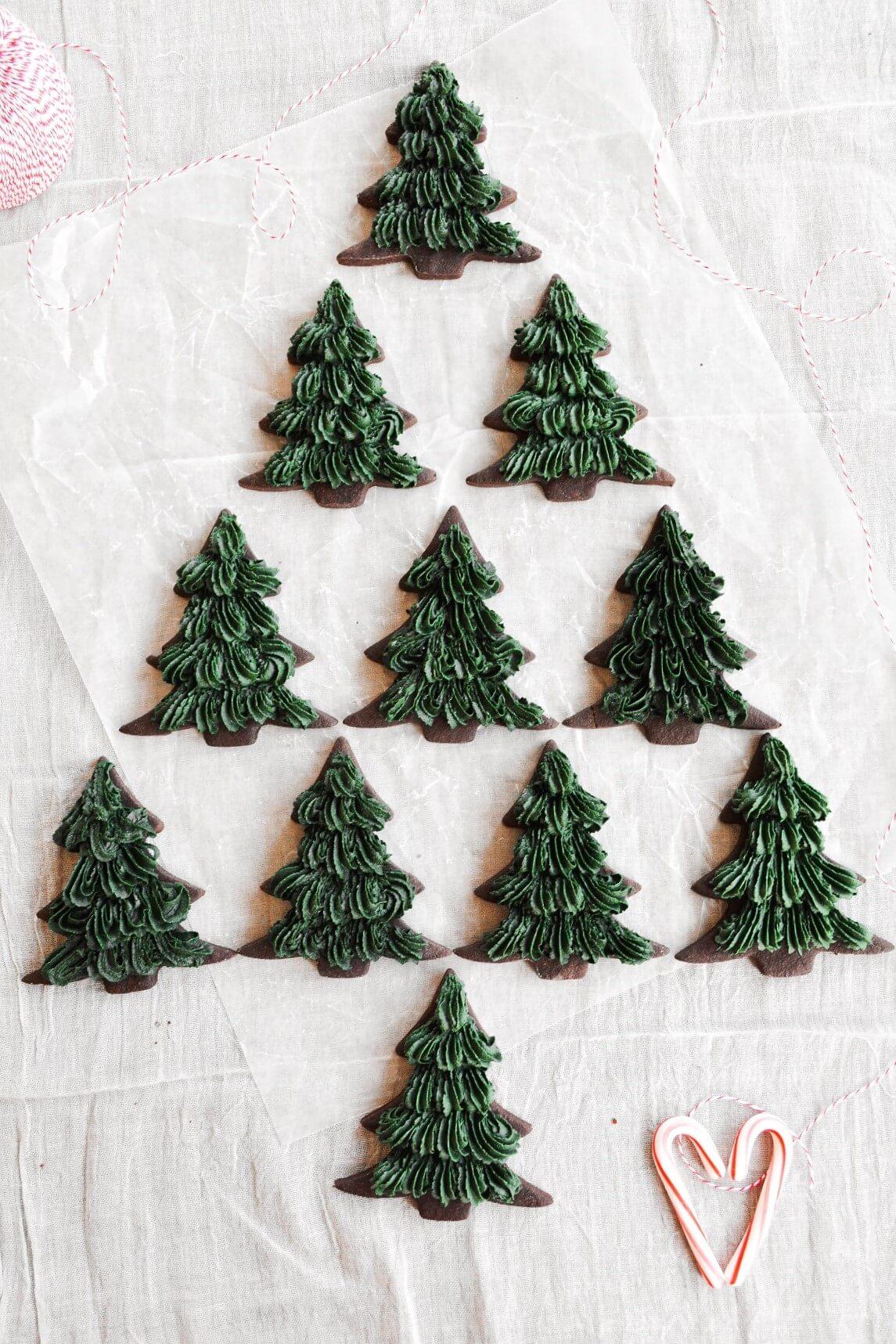 Christmas tree chocolate shortbread cookies.