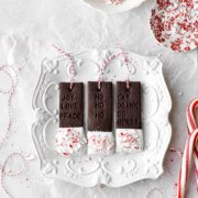 Chocolate sugar cookies, dipped in white chocolate and peppermint, stamped with Christmas messages.