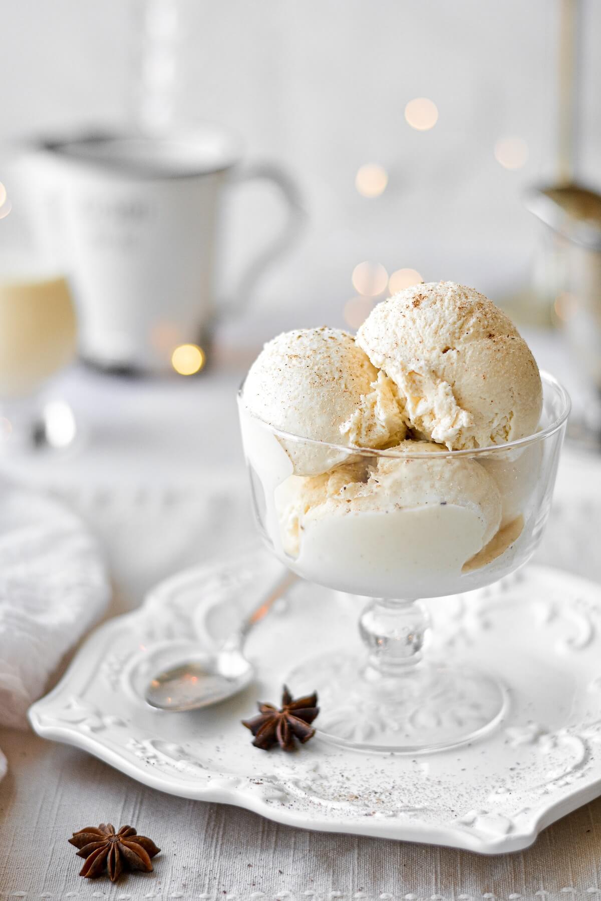 Eggnog bourbon ice cream in a mini trifle dish.