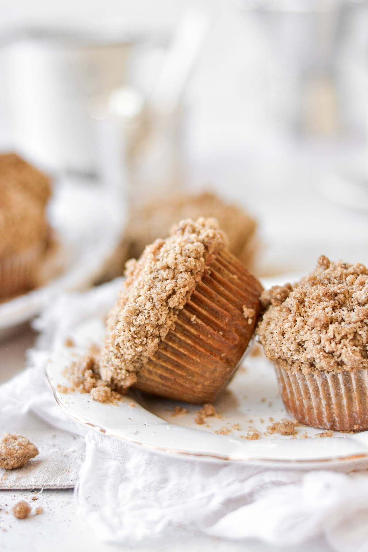 Espresso coffeecake muffins on a white plate.