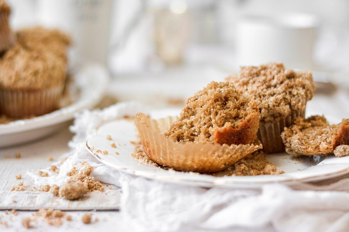 Espresso coffeecake muffins, one split in half.
