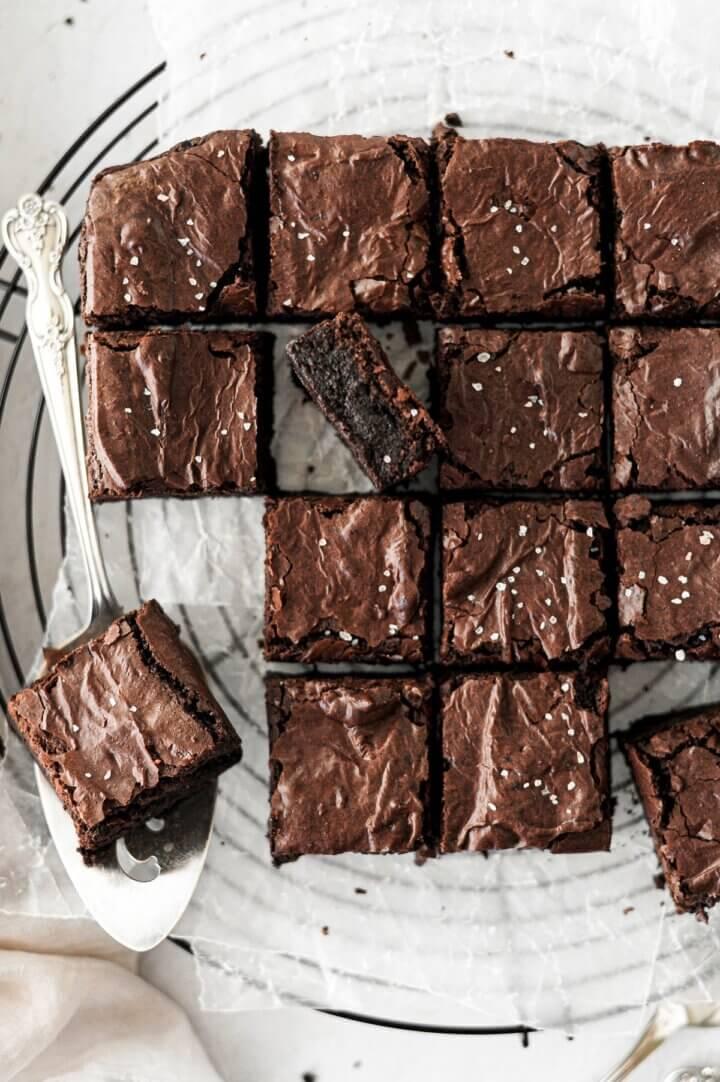Fudge brownies sprinkled with sea salt.