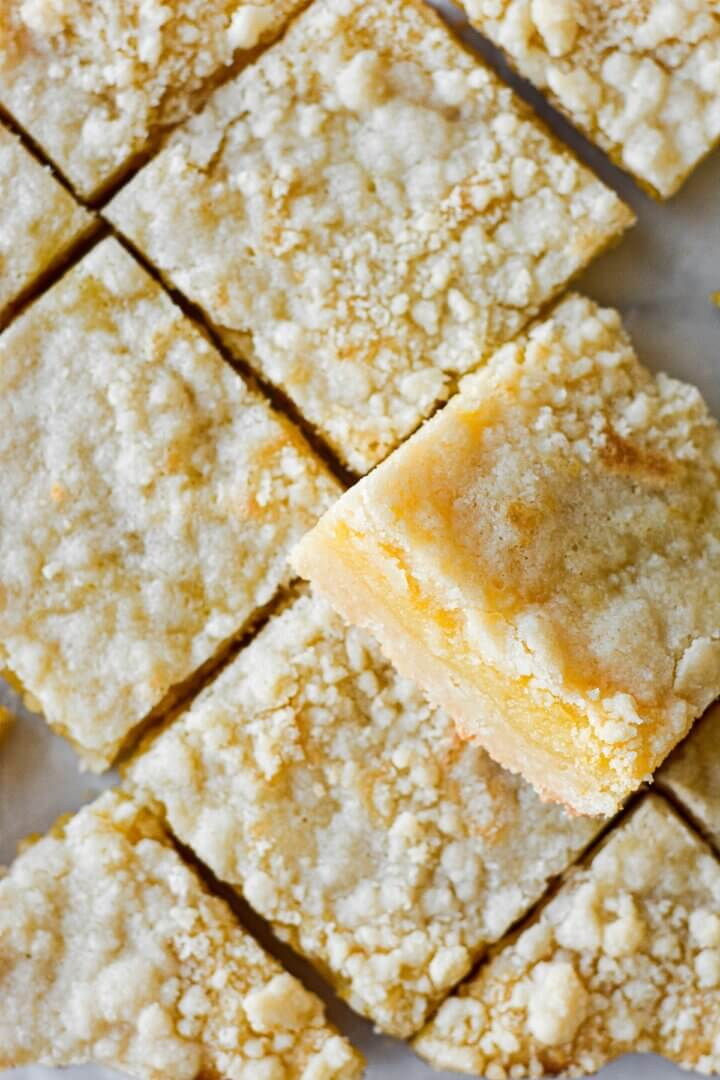 Lemon crumb bars, cut diagonally.