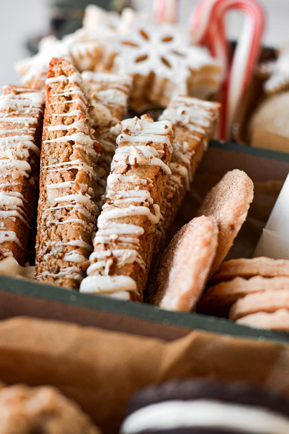 Butter pecan biscotti drizzled with white chocolate.