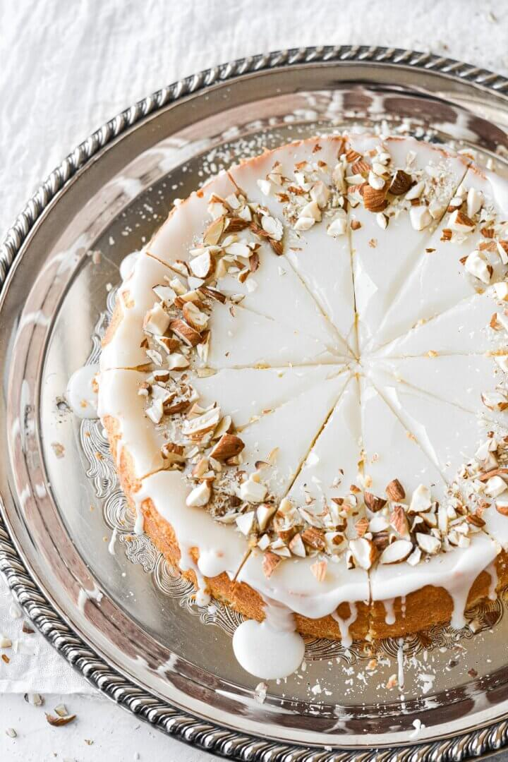 Flourless almond torte, cut into slices.