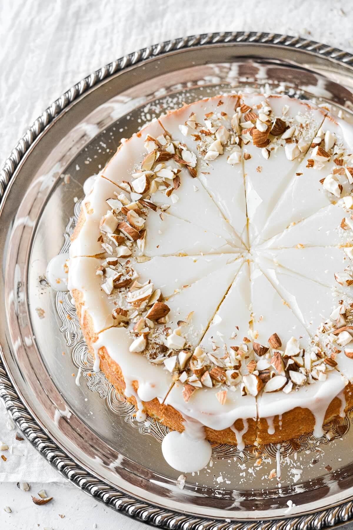 Flourless almond torte, cut into slices.