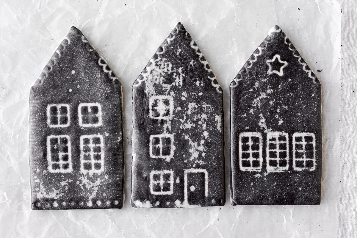 Iced chocolate sugar cookie houses.