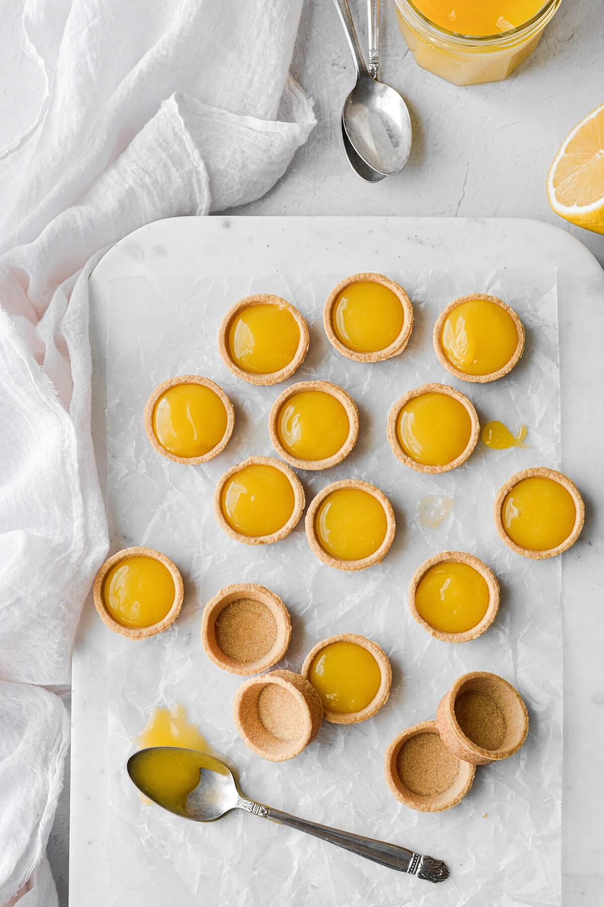 Mini pastry shells filled with homemade lemon curd.