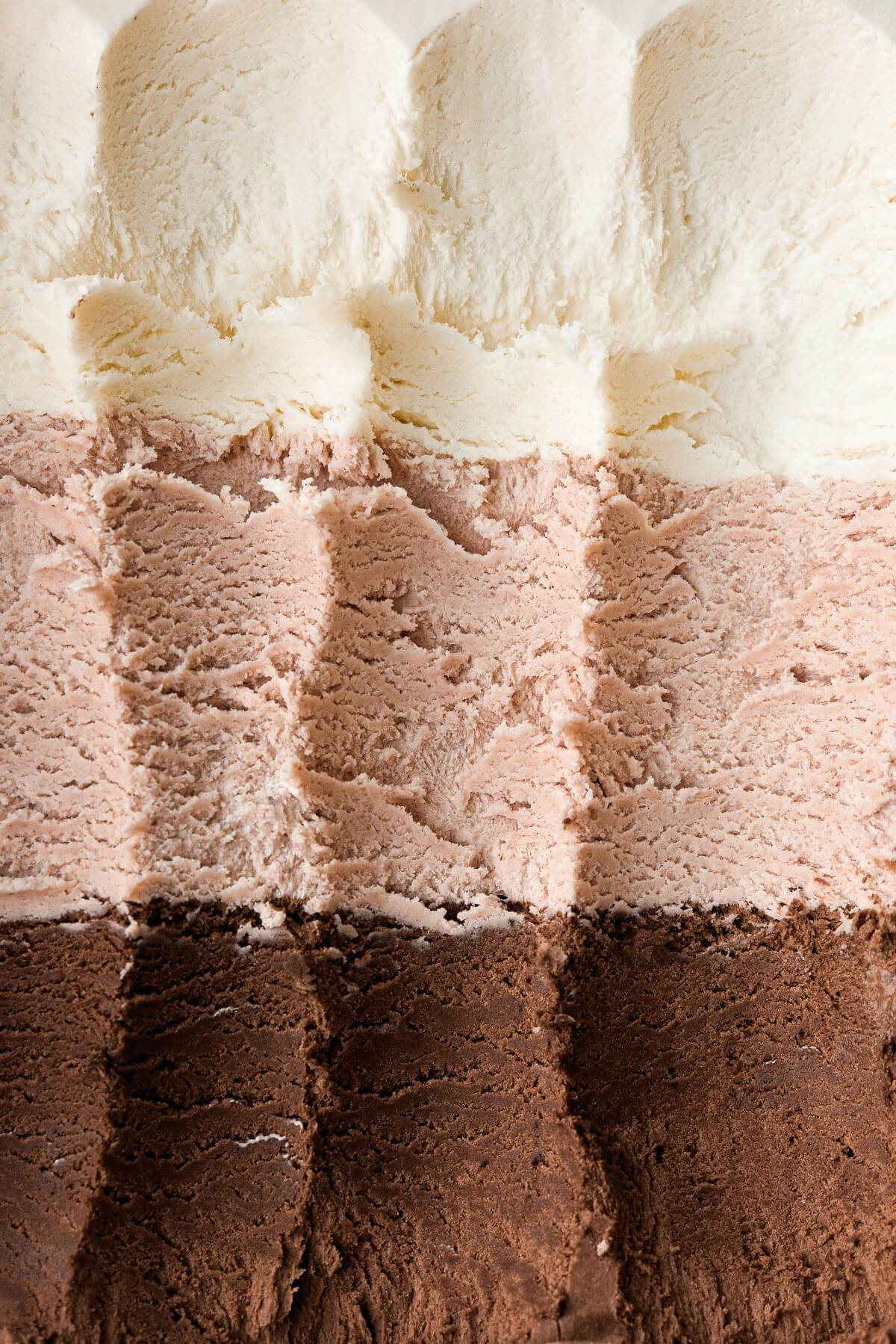 Closeup of neapolitan no churn ice cream.