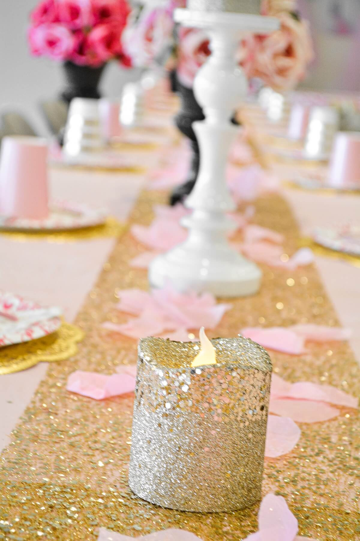 Pink and gold princess party table.