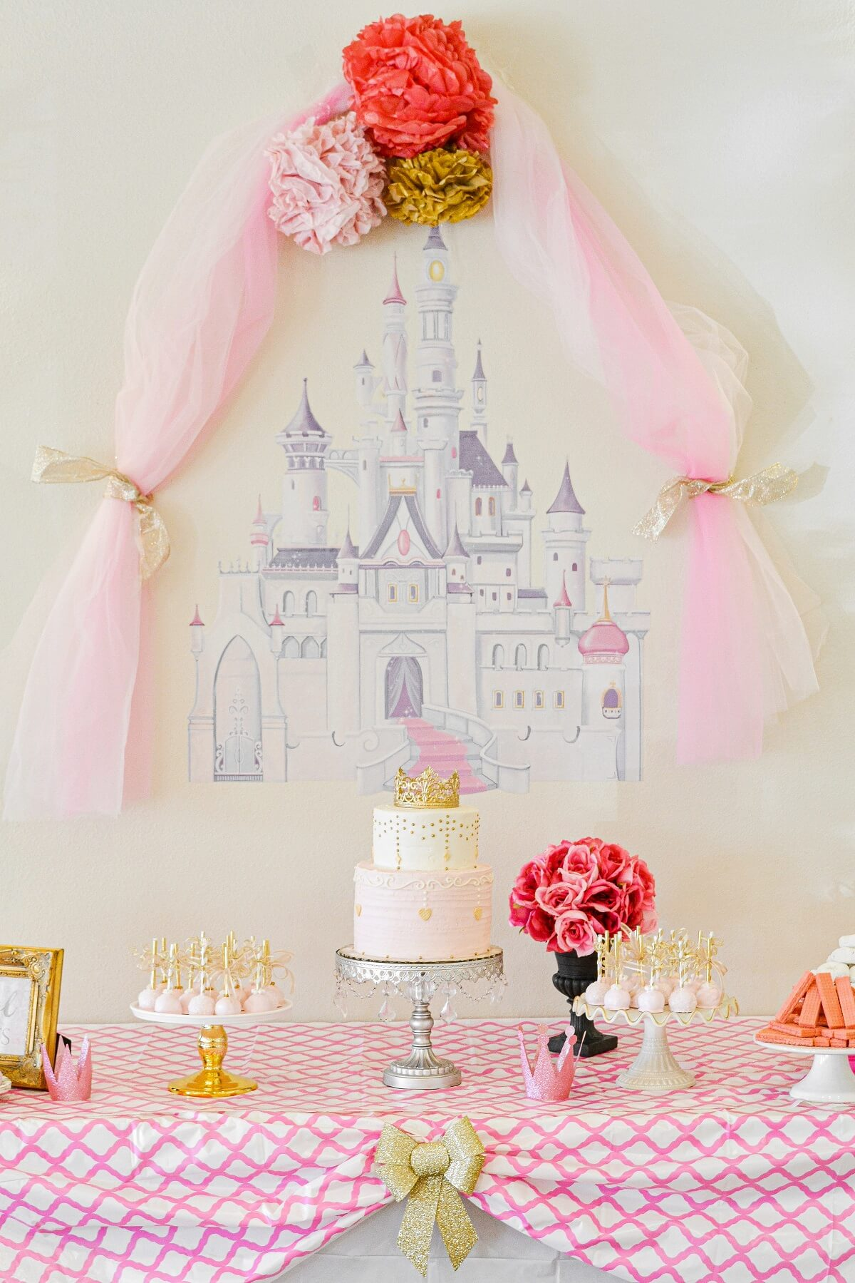 A pink and gold princess party cake table.