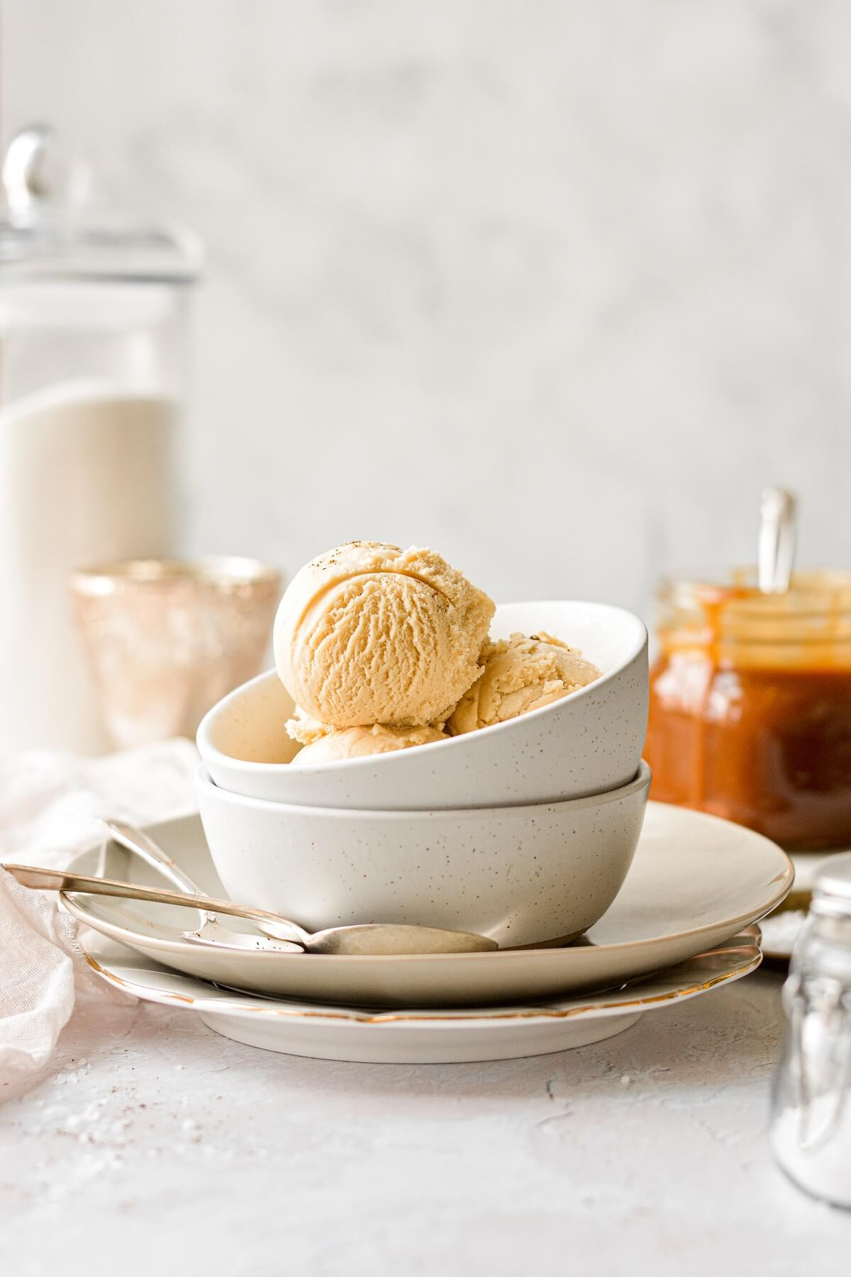 A bowl of salted caramel ice cream.