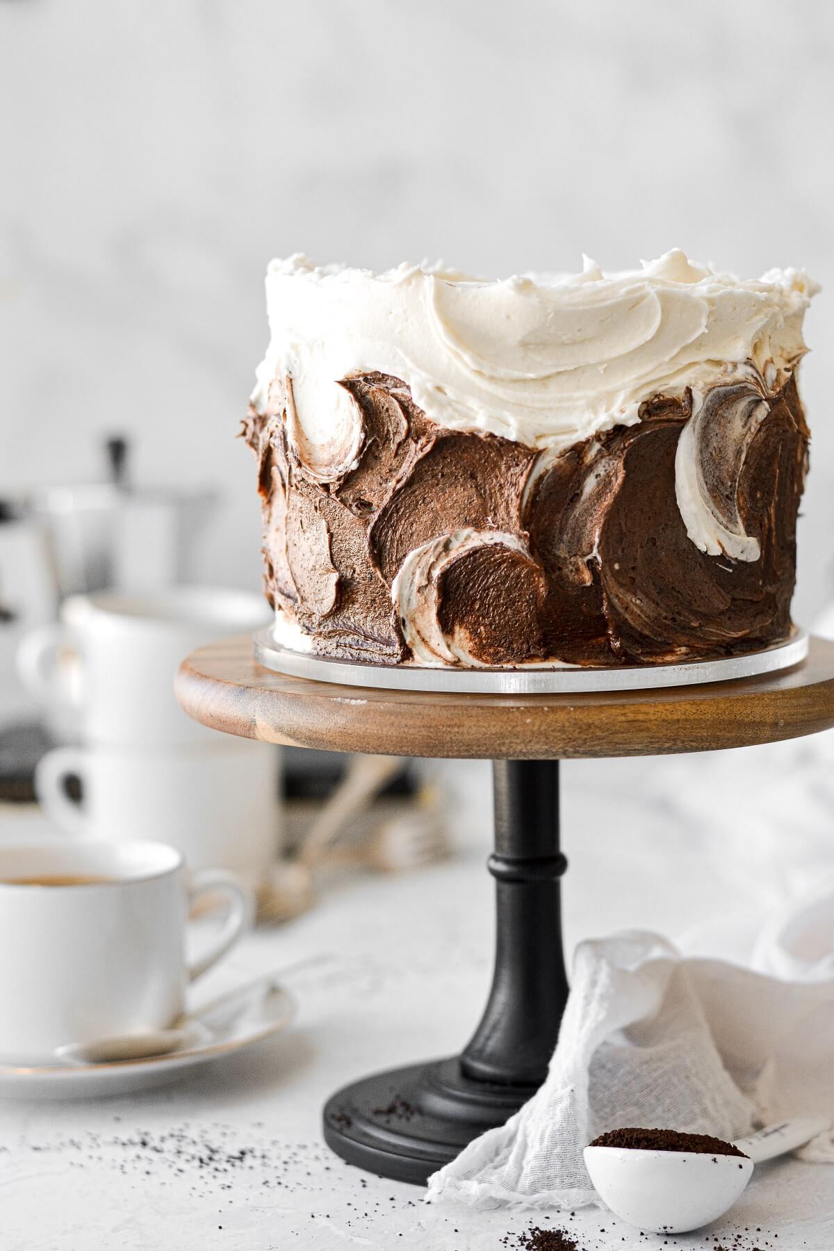 Vanilla latte cake with swirls of vanilla and chocolate espresso buttercream.