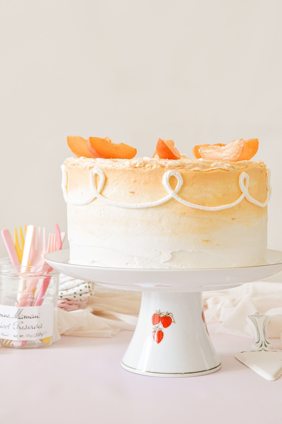 Apricot almond cake, topped with fresh apricot slices.