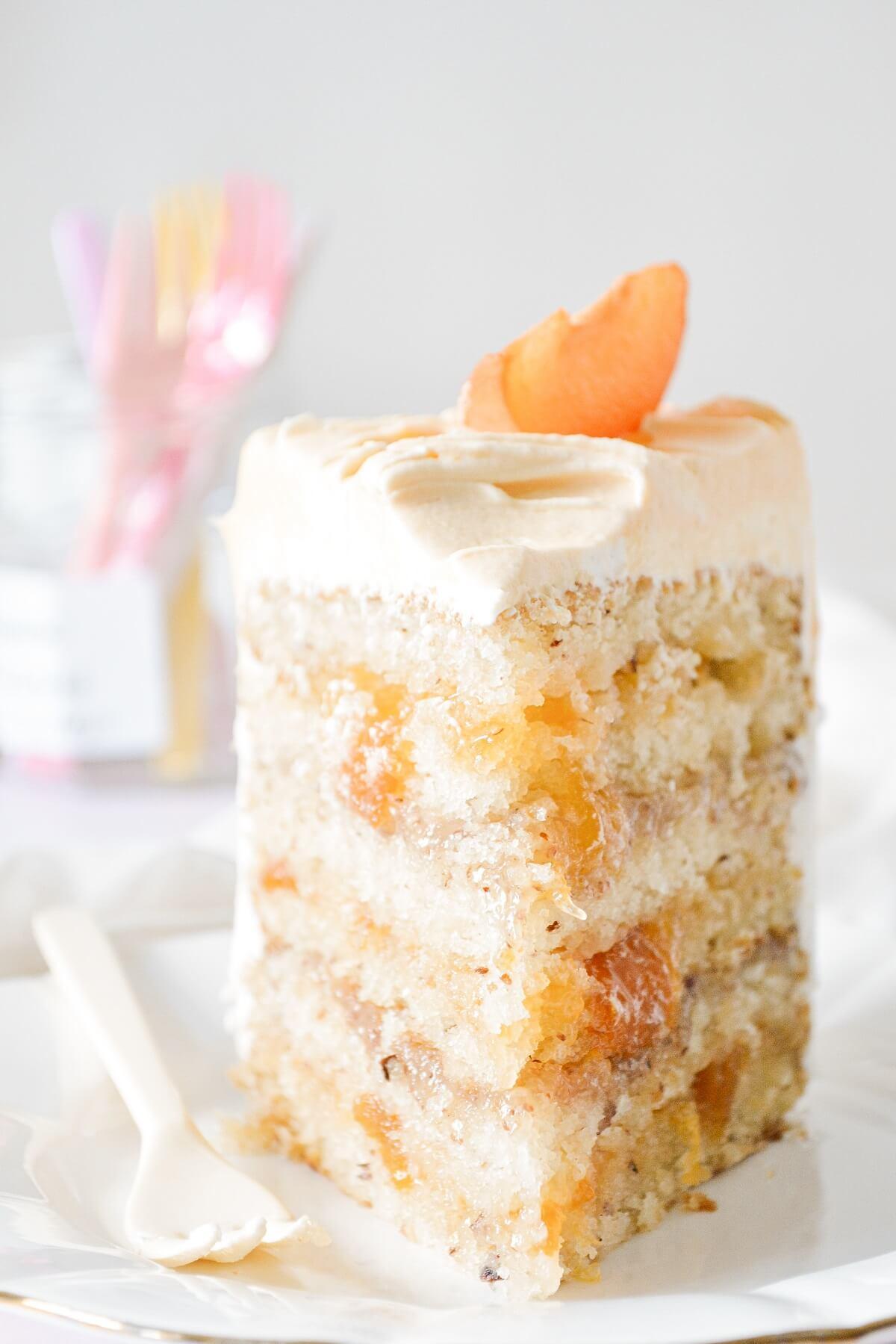 A slice of apricot almond cake.