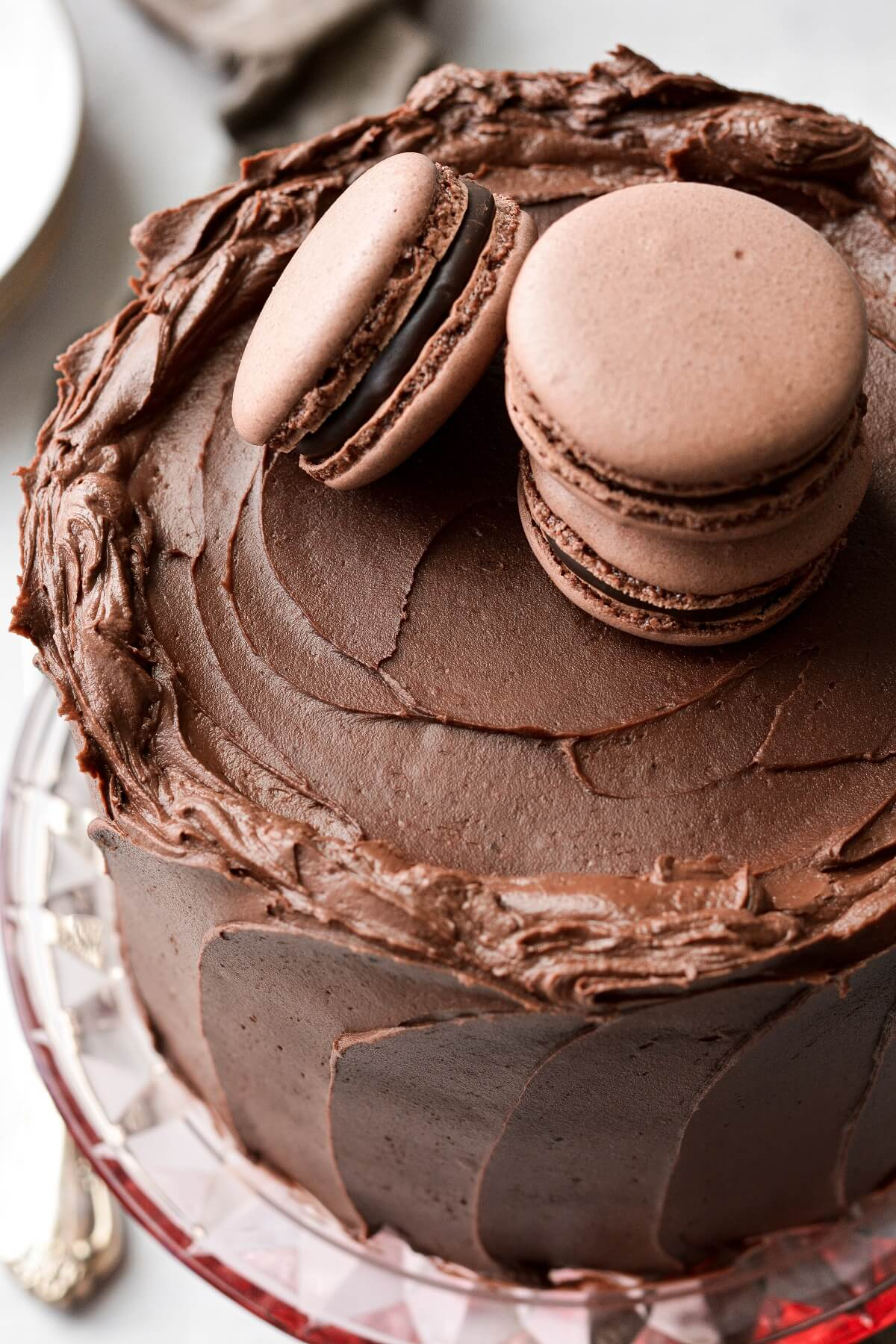 High altitude chocolate cake, topped with chocolate macarons.