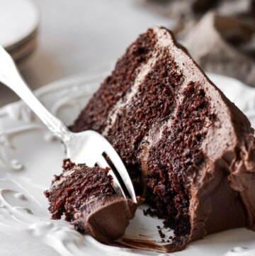 A slice of chocolate cake with chocolate buttercream.