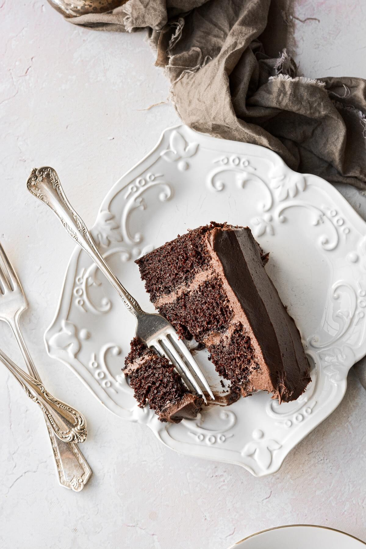 A slice of high altitude chocolate cake with chocolate buttercream.