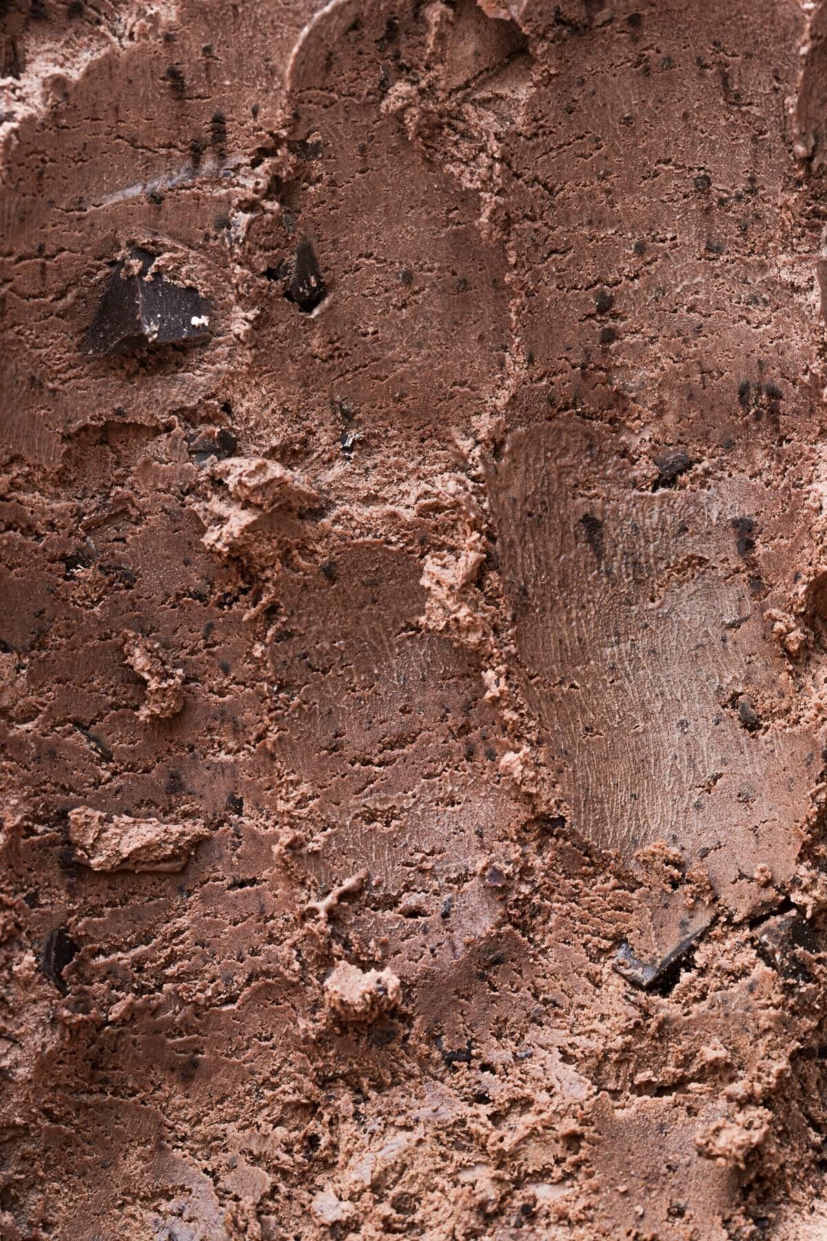 Closeup of no churn triple chocolate ice cream.