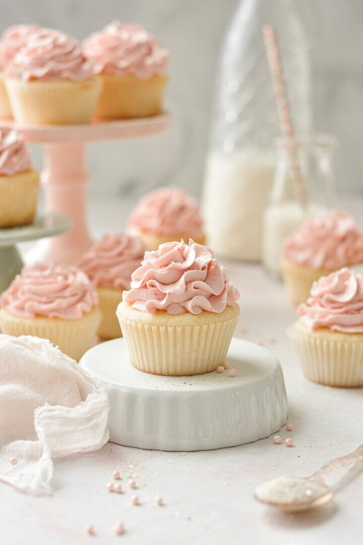 Strawberry cupcakes with ruffly pink strawberrhy buttercream.