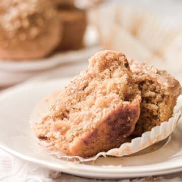 A banana pecan muffin, split in half.