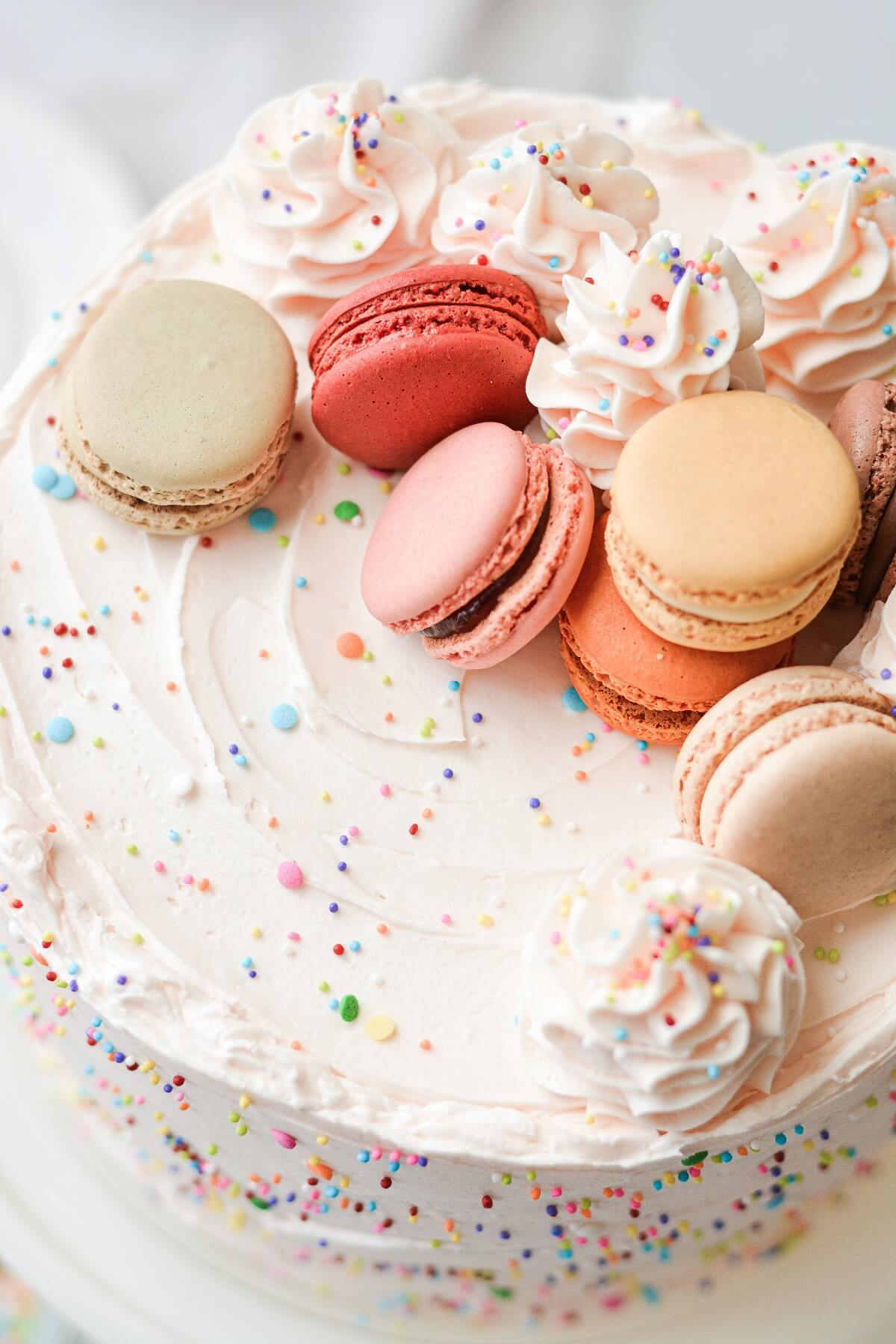 Funfetti cake topped with sprinkles and French macarons.