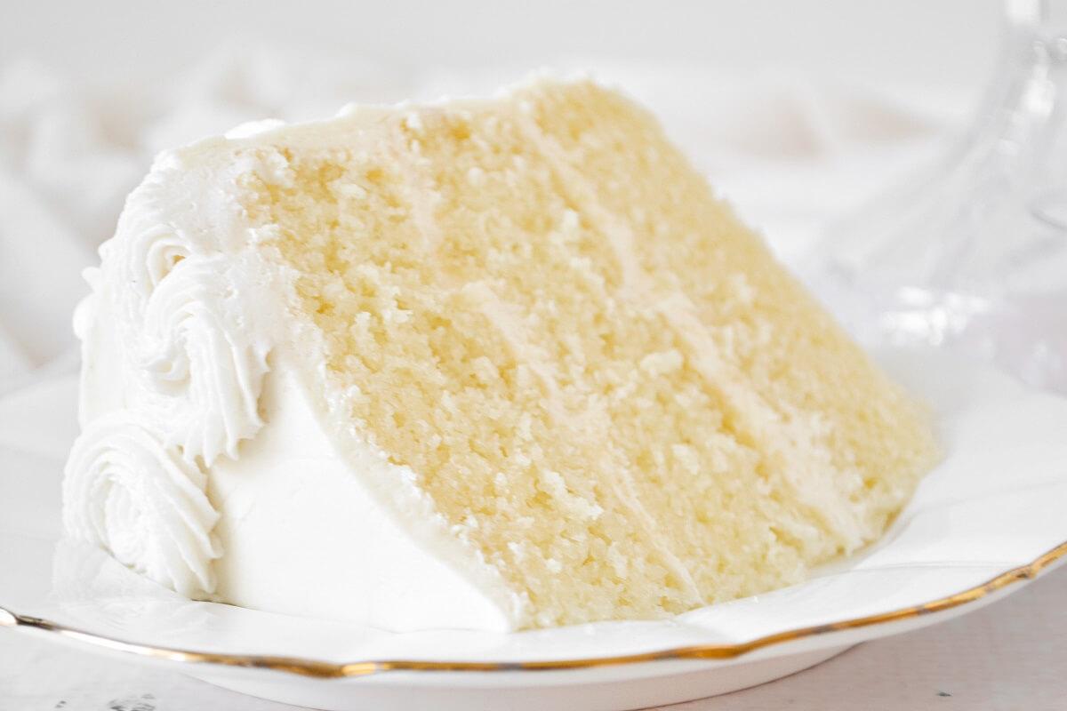 A slice of lemon cake.