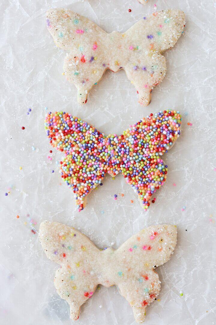 Butterfly sprinkle sugar cookies.