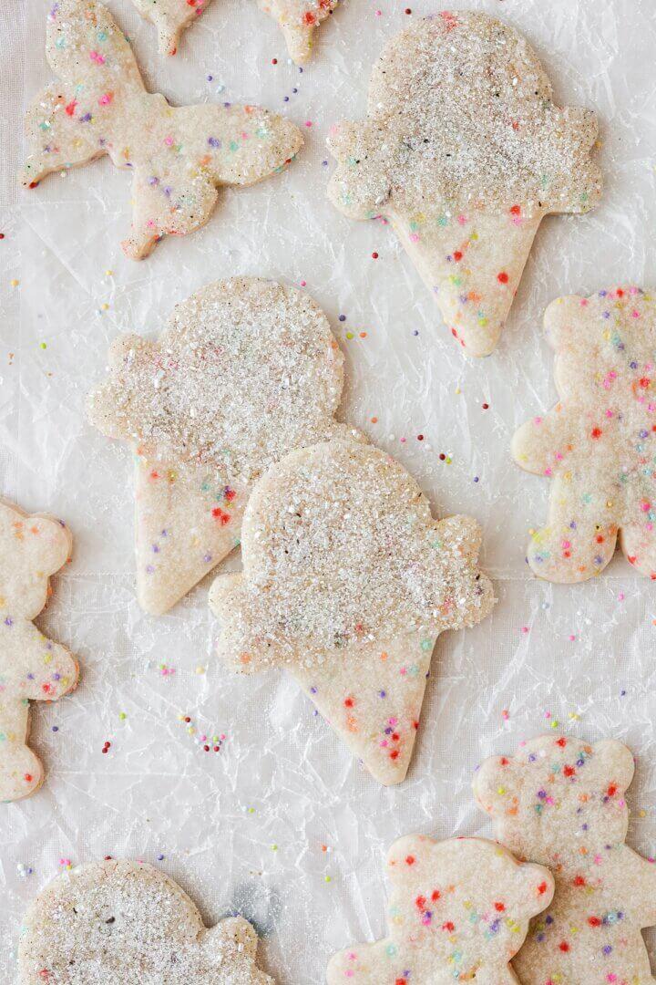Ice cream cone shaped sprinkle sugar cookies.
