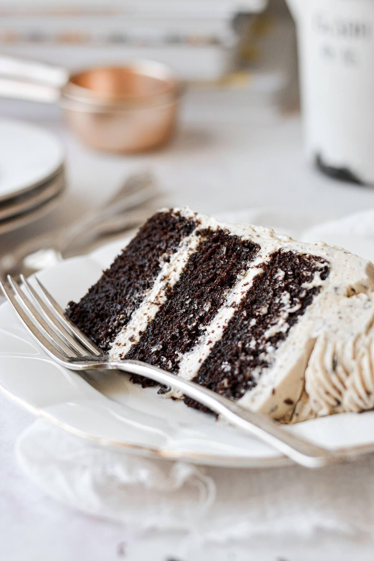 A slice of chocolate peanut butter cake.