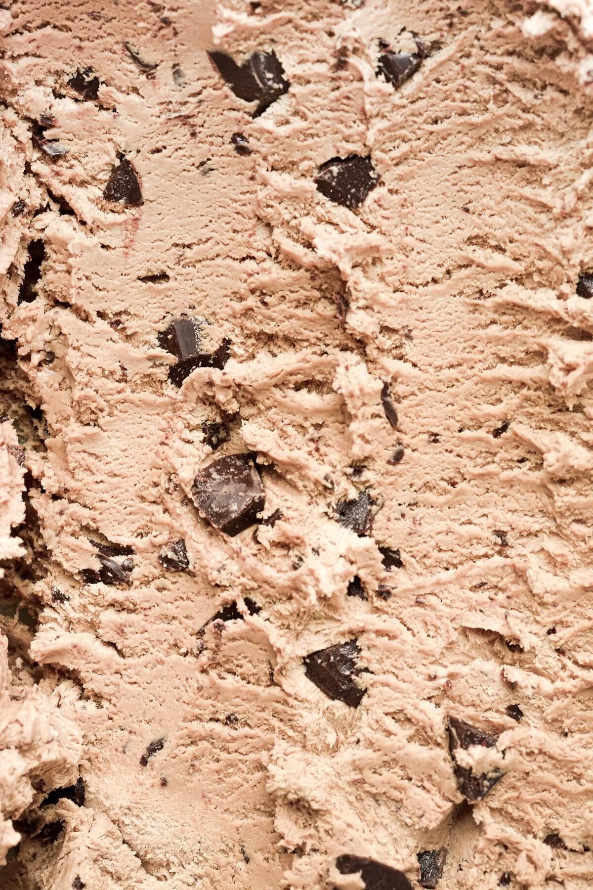 Closeup of coffee chocolate chip ice cream.