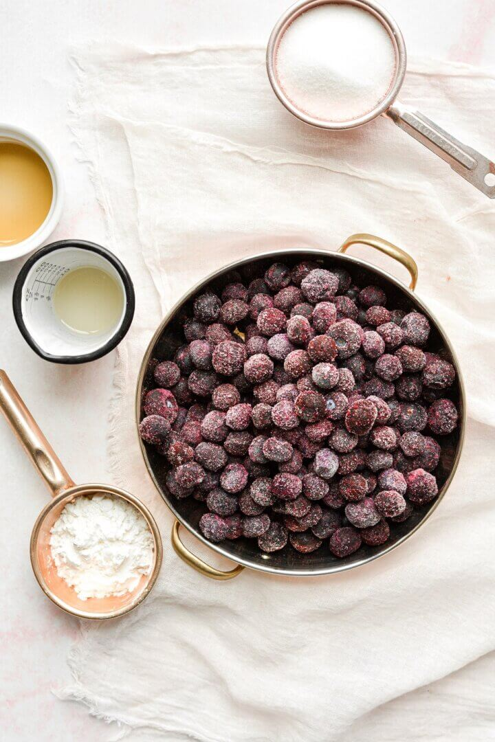 Ingredients for blueberry compote.