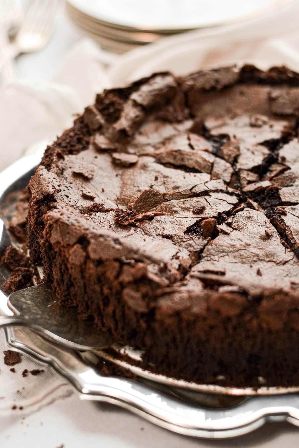 Closeup of flourless chocolate cake.