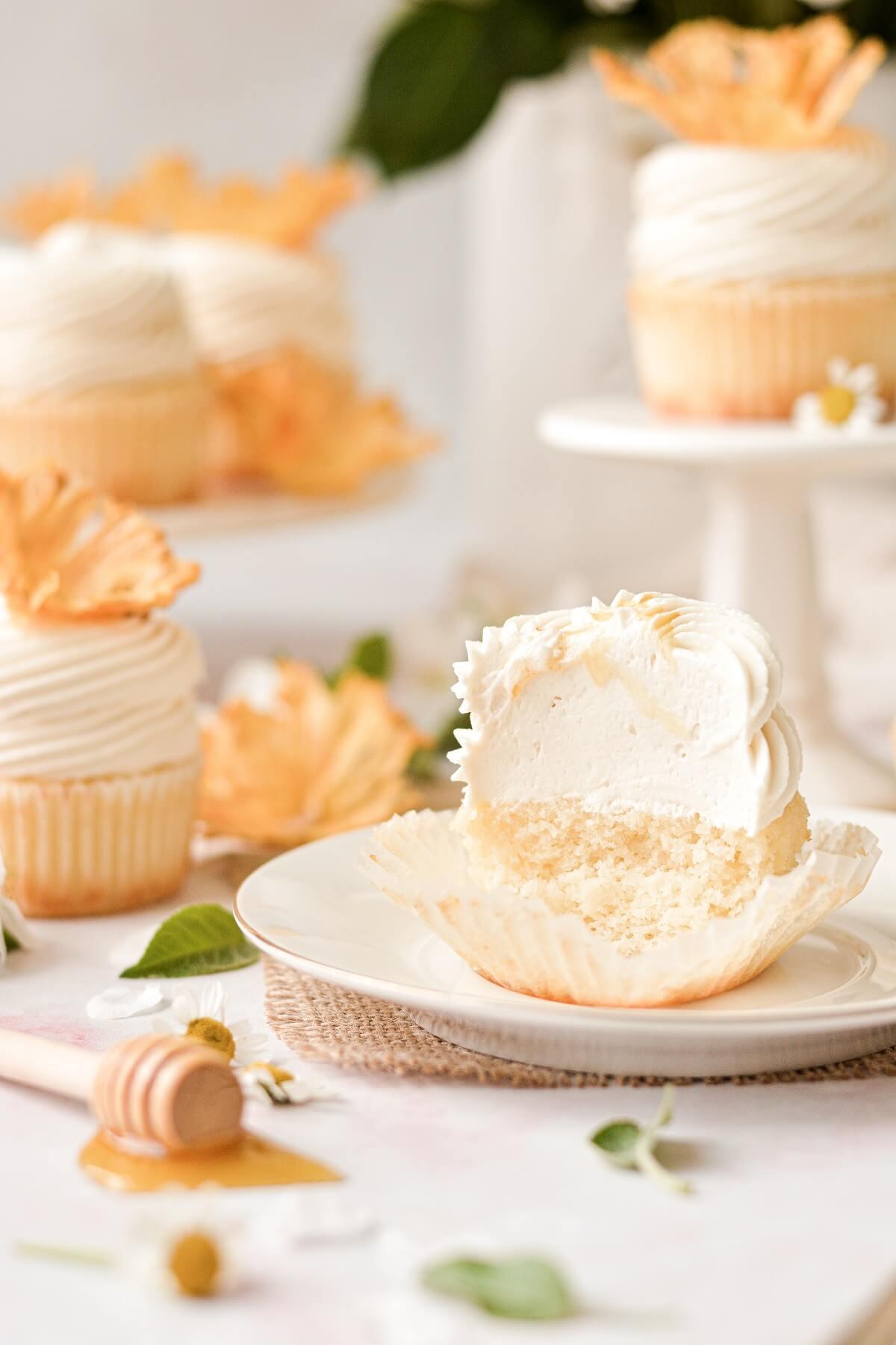 A honey lemon cupcake cut in half.