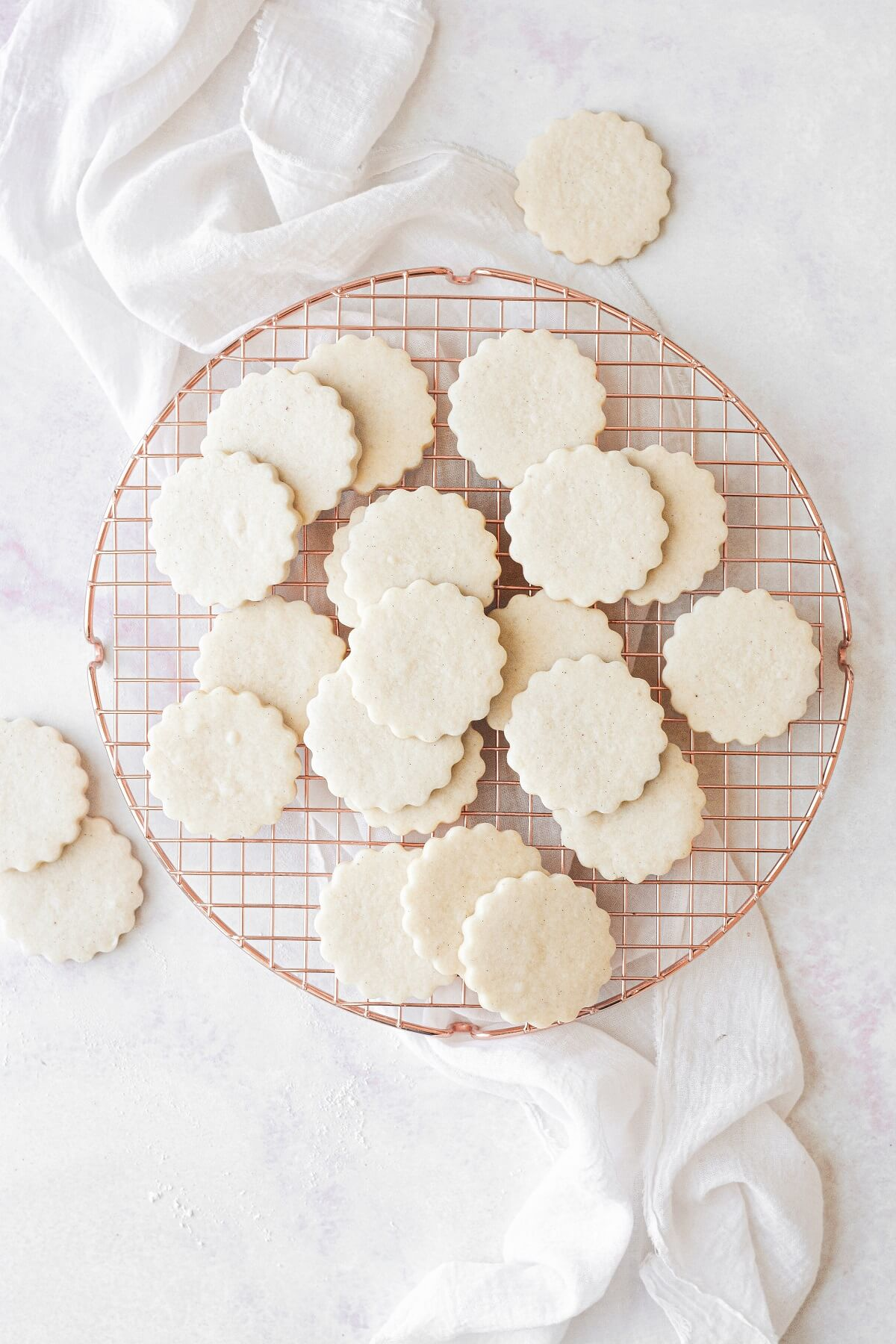 Shortbread cookies arranged on a cooling rack.