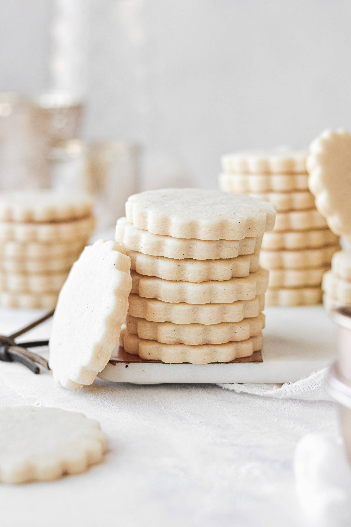 A stack of shortbread cookies.