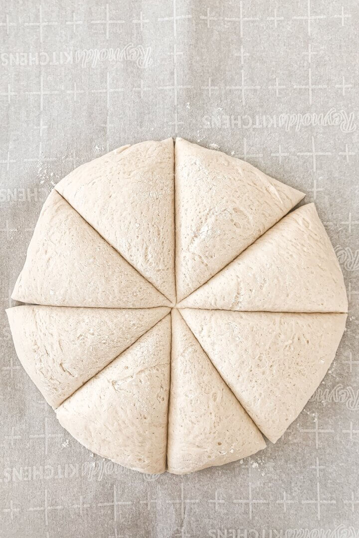Soft pretzel dough, cut into 8 pieces.
