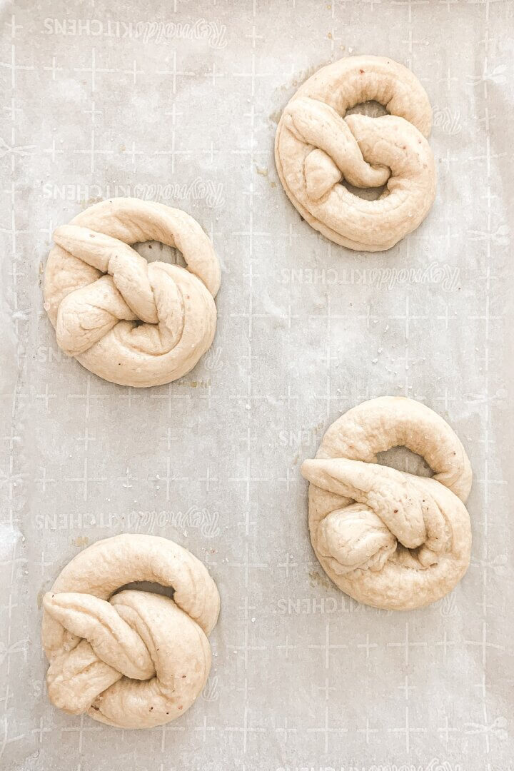 Soft pretzels ready to be baked.