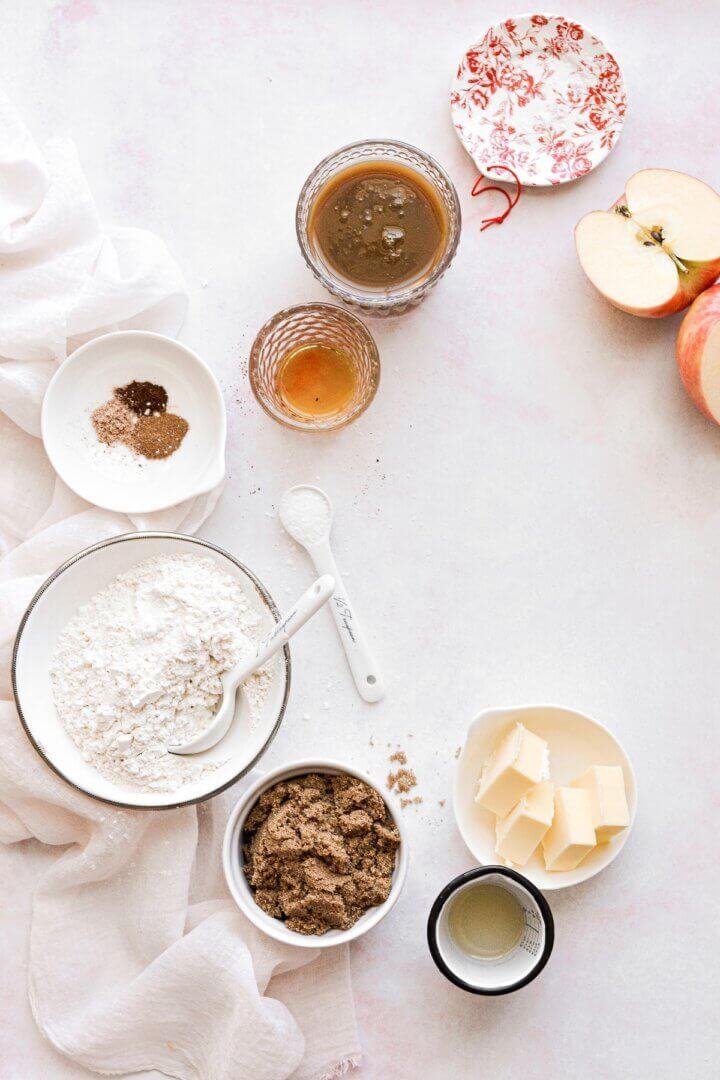 Ingredients for apple caramel crumble.