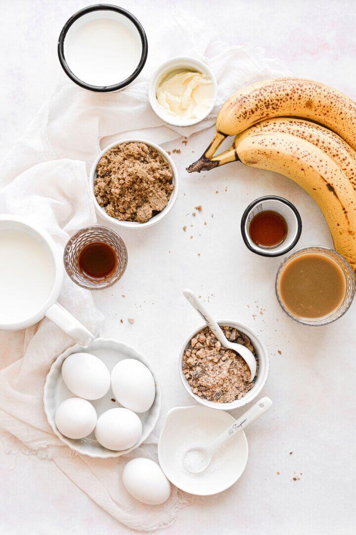 Ingredients for caramelized banana ice cream.