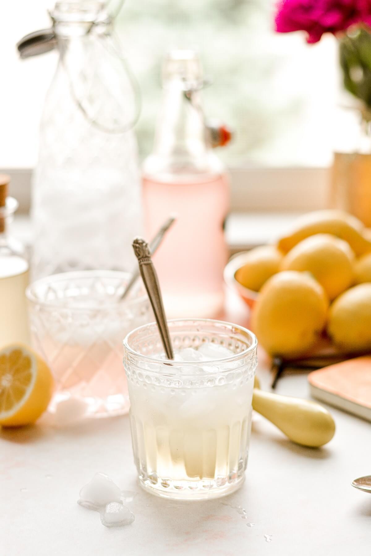 Homemade lemonade, with rhubarb and ginger syrup.