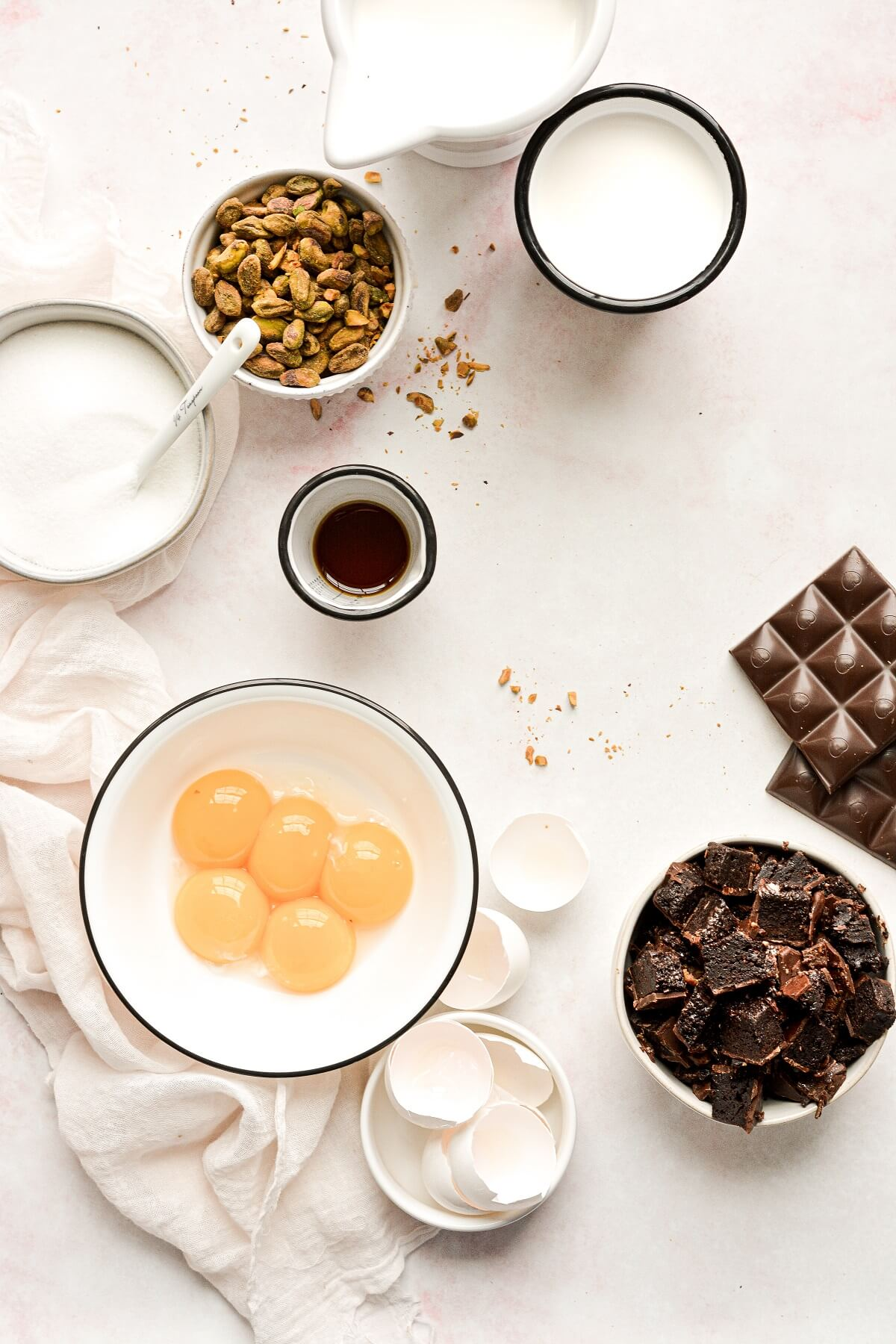 Ingredients for pistachio brownie chunk ice cream.
