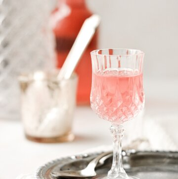 A small glass filled with pink rhubarb cordial.