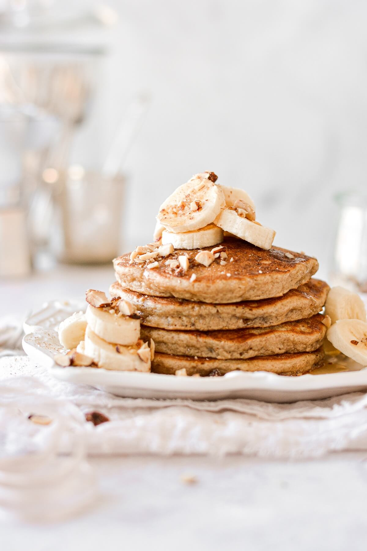 A stack of banana bread almond pancakes.