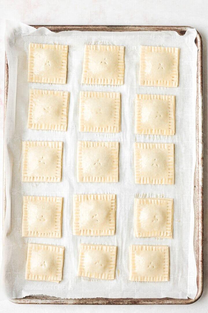 Homemade pop tarts, ready to be baked.